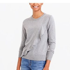 J. Crew Mercantile Ruffle Front Wool Blend Sweater